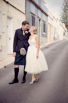 Pale blue shoes + a kilt!