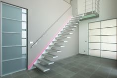 Floating design stairs, available in many heighs, widths and inclines. The futureistic and timeless design coupled with the special lighting will be the eyecather of your interior. Escalier Design, Floating Staircase, Design Moderne, Work Inspiration, Minimalist Design, Timeless Design, Stairs, Architecture, Interior