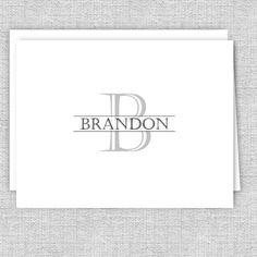 Men's Personalized Note Cards - Gray Initial with Name Web Address, Small Letters, Personalized Note Cards, Texts, Card Stock, I Shop, Initials, Names, Gray