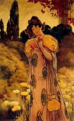 """Alexandre de Riquer (1856 -1920). """"Plafons decoratius de les quatre estacions: tardor, 1897"""". Tremp sobre tela. 176 x 114 cm. Col·l. particular. Barcelona. España."""
