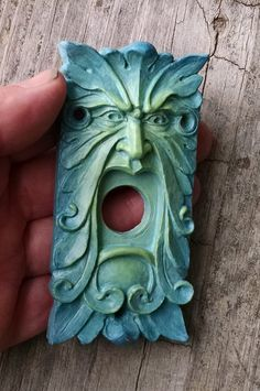 Items similar to Green Man Doorbell surround-open edition -vintage style hardware-Finished in green to blue blend glaze. on Etsy Green To Blue, Teal Blue, Knobs And Knockers, Door Knobs, Light Switch Covers, Clay Crafts, Clay Art, Wood Carving, Ceramic Art