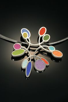 Crossing Paths Pendant in Full Spectrum (polymer clay necklace), by Mary Filapek and Lou Ann Townsend