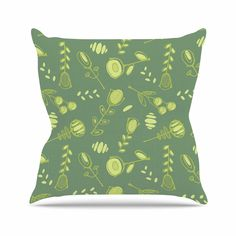 "Holly Helgeson ""Hattie"" Green Floral Outdoor Throw Pillow"