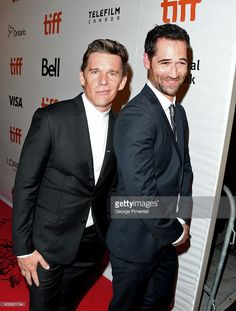 Actors Ethan Hawke (L) and Manuel Garcia-Rulfo attend 'The Magnificent Seven' premiere during the 2016 Toronto International Film Festival at Roy Thomson Hall on September 2016 in Toronto, Canada. Magnificent Seven 2016, Manolo Garcia, Ethan Hawke, The Seven, International Film Festival, Celebs, Celebrities, I Love Him, Beautiful Men