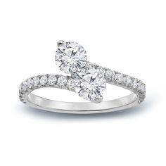 Auriya 14k Gold 1 1/2ct TDW Diamond 3-Prong 2-Stone Engagement Ring (H-I,SI1-SI2) (Rose Gold - Size 9), Women's, Pink