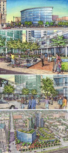 Yas Architecture.  Harper Square Proposal.  Renderings by Bondy Studio, Northbrook, IL
