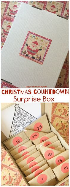 simple Advent calendar box with paper bags for a Christmas countdown for kids