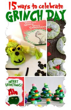 15 Ways to Celebrate Grinch Day! A celebration of the Dr. Seuss book How the Grinch Stole Christmas. There's Grinch inspired food crafts and play (sensory play pretend play and games). Great for teachers fun for a family book \/ movie night with the kids. Grinch Christmas Party, Grinch Party, Preschool Christmas, Christmas Goodies, Winter Christmas, Christmas Themes, Holiday Fun, Christmas Parties, Christmas 2019