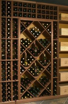 Bin & individual wine racks effectively store wine in this wine cellar.