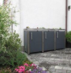 Mülltonnen Verkleidung aus Edelstahl mit Alu-Basalt Füllung Bike Storage, Storage Bins, Lava, Outdoor Gardens, Garage Doors, Shed, Landscape, Outdoor Decor, House