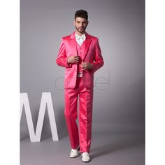 2017 Latest Coat Pant Designs Hot Pink Satin Men Suit Jacket Slim Fit 3 Piece Suits Groom Style Tuxedo Custom Prom Blazer Ternos