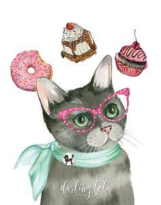 Cat Watercolor Print - Cat Portrait - Black Cat - Cat Art - Retro Cat - Animal Art - Cat Painting - Donut - Nursery Art
