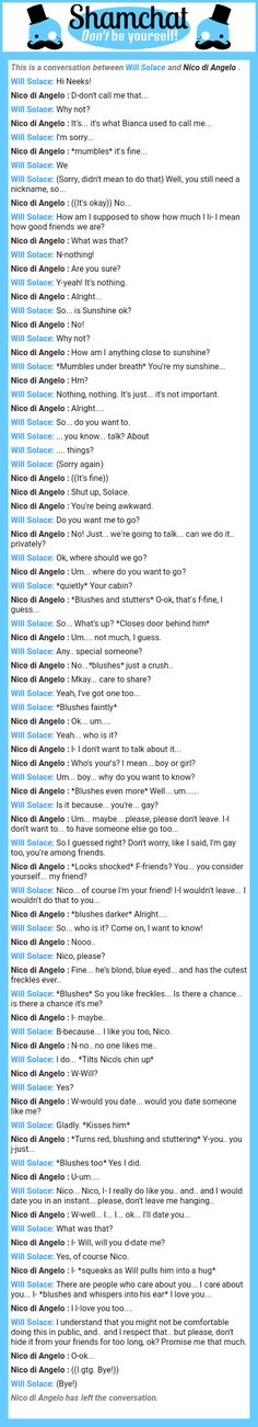A conversation between Nico di Angelo and Will Solace