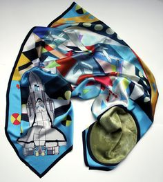 Space Race Moon Rocket Geometric Pattern Silk Scarf with Plane Print. $100.00, via Etsy.