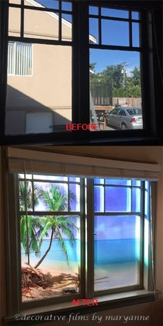 Palm Tree Picture Privacy Decorative Window Film - This client from Victoria BC, Canada wanted something to block out the view of the neighbors home while he worked in his home office. He chose the Palm Tree Picture. He wanted sunlight to show through while he worked. He was quite pleased with the end result.