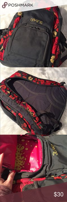 Dakine 30L Backpack Dakine 30L Backpack with laptop pocket. Good condition. Gray, pink, orange, yellow hibiscus print. Smoke-free home. Dakine Bags Backpacks