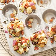 Bacon, apples, and herbs season this bread stuffing, which is baked in muffin cups. It makes a wonderful side dish for turkey or ham.