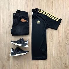 rockstar's mens fashion wear, streetwear f Stylish Mens Outfits, Dope Outfits, Casual Outfits, Fashion Outfits, Mens Fashion Wear, Tomboy Fashion, Streetwear Fashion, Outfit Grid, Adidas Fashion