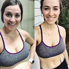 (left) June 13 2017: two hours after my water broke at my 40 week + 2 day appointment I worked out to be my healthiest  try & get my labor beyond Braxton Hicks. ..  (Right) June 13 2018: TODAY working out in the same garage same clothes with the same heart to be my healthiest.. but this time for my girl on the outside. .. #HealthyPregnancy #11MonthsPostpartum