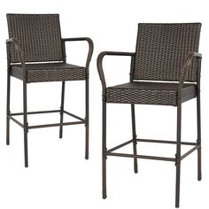 BCP SKU: Best Choice Products Set of 2 Indoor Outdoor Wicker Barstool Patio Bar Stools - Brown. This set is the perfect inventive for drinks and good conversation. Stools' dark brown tone brings elegant and inviting style to your patio. Wicker Bar Stools, Brown Bar Stools, Outdoor Bar Stools, Outdoor Chairs, Patio Seating, Patio Dining, Patio Chairs, Dining Set, Dining Chairs