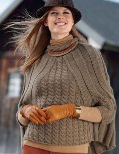 Стильный пуловер-кейп спицами схема. Кейп спицами с «косами»