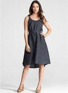 U-Neck A-Line Dress in Washed Linen Delave eileen fisher