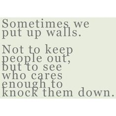'Sometimes we put up walls. Not to keep people out, but to see who cares enough to knock them down.'