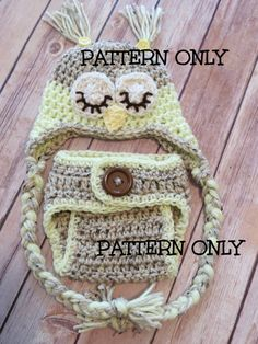 Crochet PATTERN PDF Digital File Crochet Sleepy Eye Newborn Owl hat diaper cover photo props shower gift boy, girl bringing home baby outfit Crochet Owl Hat, Owl Crochet Patterns, Baby Girl Crochet, Owl Patterns, Crochet Baby Clothes, Newborn Crochet, Crochet For Kids, Newborn Picture Outfits, Baby Outfits