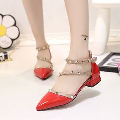 Fashion Japanned Leather Pointed Toe Rivet Sandals Irregular Sexy Low-Heeled Women's Solid Color Shoes Patent Leather Nude
