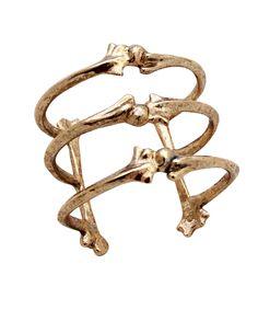 t h r e a db a r e — triple bone cuff (gold)