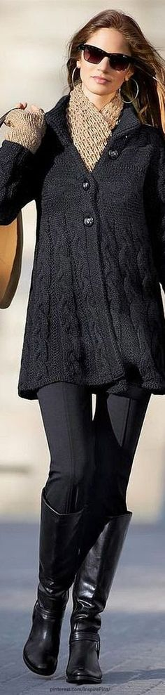 Women's fashion chic fall outfit Love Khaki +Black! Love the Scarf ! Love the Boots! Chic Stylish Women's Winter Fashion Look Fashion, Trendy Fashion, Fashion Outfits, Womens Fashion, Fashion Trends, Classy Fashion, Luxury Fashion, Fall Fashion, Gypsy Fashion
