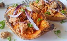 Töltött édesburgonya recept elkészítése Sugar Free, Sweet Potato, Paleo, Tacos, Clean Eating, Gluten, Potatoes, Mexican, Healthy Recipes