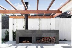 Pipkorn & Kilpatrick Interior Architecture and design Outdoor Rooms, Outdoor Living, Outdoor Decor, Outdoor Fireplace Designs, Fireplace Modern, Modern Garden Design, Landscape Design, Deck Design, Layout Design