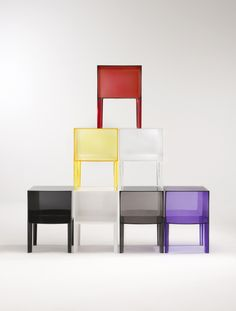 Small Ghost Buster Cabinet by Phillipe Starck for Kartell: Night stand made of transparent or batched-dyed PMMA. $412  #Phillipe_Starck #Night_Stand