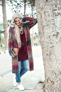 long knit cardigan winter hijab, 27dresses winter collection 2016 http://www.justtrendygirls.com/27dresses-winter-collection-2016/