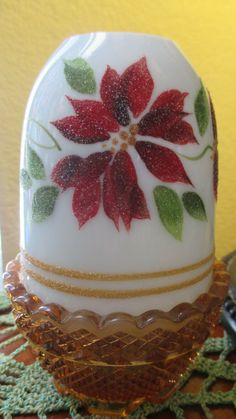 Fenton art glass fairy lamp light milk glass hand painted Fairy Lamp, Poinsettia, Fairy Lights, Milk Glass, Lamp Light, Fairies, Snow Globes, Vintage Antiques, Glass Art