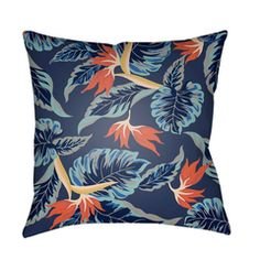 Buy the Surya Green Direct. Shop for the Surya Green Tropical Wide Square Botanical Leaves Polyester Covered Polyester Filled Outdoor Accent Pillow and save. Blue Leaves, Orange Flowers, Home Decor Trends, Outdoor Throw Pillows, Home Interior, Throw Pillow Covers, Terracotta, Flower Designs, Accent Decor