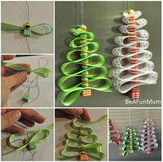 These little Ribbon Christmas Tree Decorations looks simple but cute, they are made from ribbon and beads, you kids...