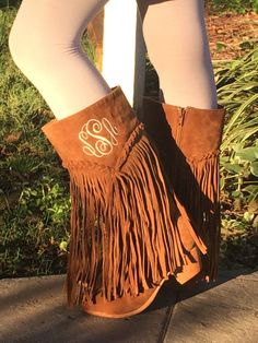 7adb692a130a Items similar to Girls Fringe Boots- Kids Monogram Boots- Trendy Fringe  Monogram Boots on Etsy
