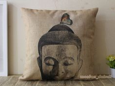 Chinese Style Zen Buddha Tea Peking Opera Linen Pillow Case Throw Cushion Cover | eBay