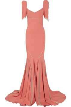Stretch satin-crepe fishtail gown by Zac Posen