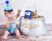 Baby Boy / Toddler First Birthday Cake Smash Diaper Cover Tie and Party Hat Outfit in Sesame Street's Blue Cookie Monster