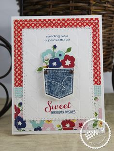 Dawn Woleslagle for Wplus9 featuring A Pocketful stamp set and dies, and Fresh Picked stamp set.
