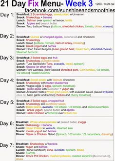 Sunshine and Smoothies Fitness: 21 Day Fix Menu - Week 3