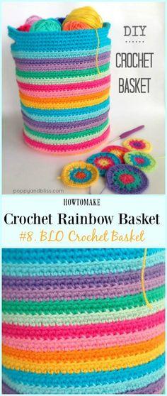 BLO Crochet Basket Free Crochet Pattern – Rainbow Free Patterns Source by Crochet Shell Stitch, Crochet Motifs, Crochet Patterns, Crochet Home, Crochet Gifts, Crochet Yarn, Fast Crochet, Crochet Handbags, Crochet Purses