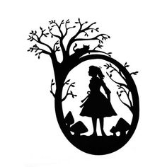 Alice Who - Black and White Paper Cut Silhouette Cheshire Cat Looks Down on Mushrooms