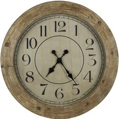 """The Fairbanks 31"""" Oversized Wall Clock from Cooper Classics is a beautiful, stylish wall clock. The clock features a distressed wood casing and a distressed wood dial inscribed with bold black Arabic numerals and large black spade-shaped clock hands. This clock will bring a classy touch to any decor."""