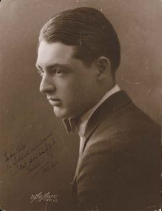 ARCHIE LEACH, aka, Cary Grant, appeared at St.Louis Muny Opera A rare, early sepia portrait of Cary Grant signed under his real name.