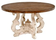 A beautiful ornate scroll base is paired with a distressed wood top for a unique rustic table for Tuscan, Old World, Spanish or Mediterranean decors. Kitchen Table Chairs, Dining Table Design, Round Dining Table, Dining Room Table, Tuscan Dining Rooms, Contemporary Dining Chairs, Tuscan Decorating, Rustic Table, Wood Table