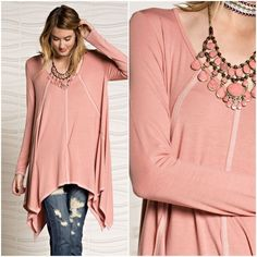 Peachy Spring Tunic Rayon spandex oversized white stitching on the hem. Oversized tunic top long sleeve. Made in USA Easel Tops